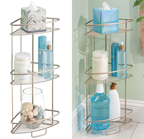Steel 3 tier corner bathroom storage unit - Axis