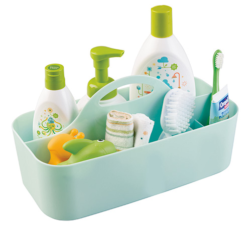 Mint green plastic storage caddy with 6 compartments and a handle