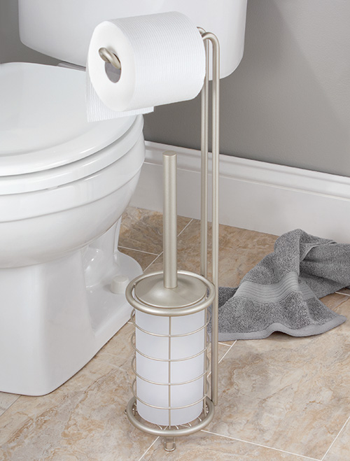Free standing loo roll holder and loo brush