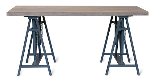 Solid spruce and beech wood trestle desk