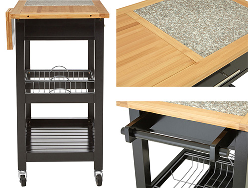 Wooden kitchen storage trolley with granite top