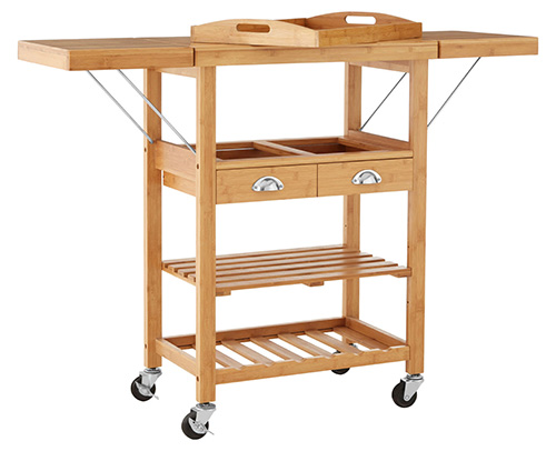 Bamboo kitchen trolley on castors with leaf drop sides