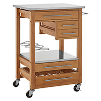 Stainless Steel & Bamboo Kitchen Trolley