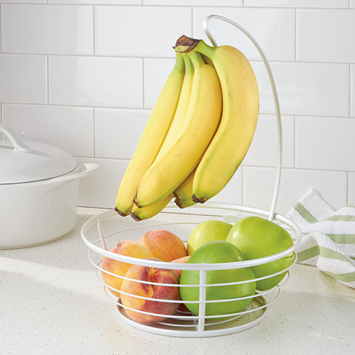 Fruit Bowl & Banana Hanger - White
