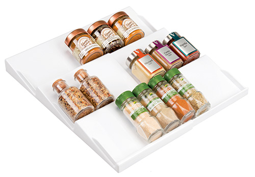 Extendable in drawer spice rack in white
