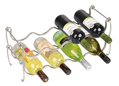 Chromed metal stackable wine rack
