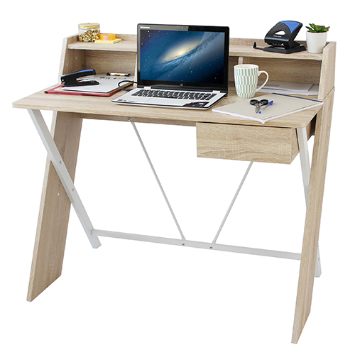 X-Desk in Oak and White
