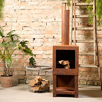 Garden Heater with Wood Store