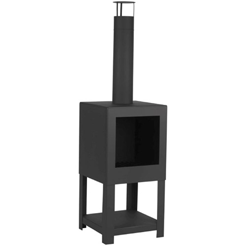 Steel terrace heater with wood store and chimney garden chiminea