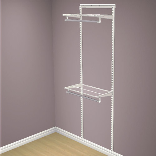 elfa double half height hanging starter kit in white