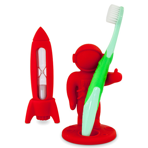 Kid's silicone toothbrush holder and timer set