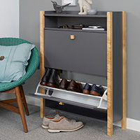 Grey Shoe Storage Cabinet - 2 Drawer - Hannover