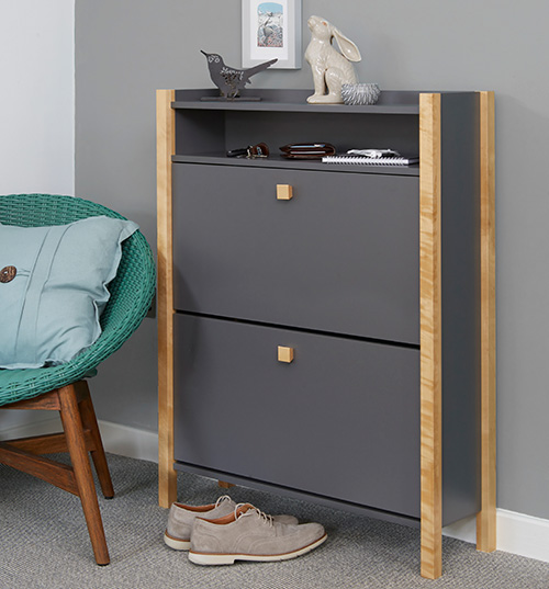 Hannover Shoe Storage Cabinet Finished In Grey - 2 Drawer