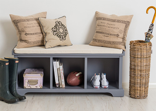 Wooden shoe storage bench with cushion