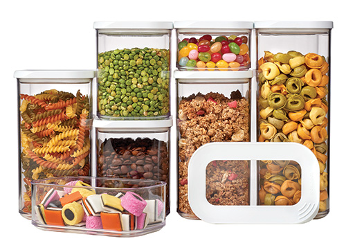 7 x Clear Kitchen Storage Canisters