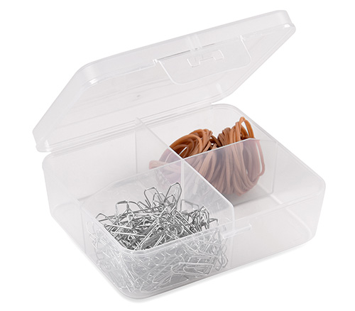 Transparent plastic divider box with 4 storage compartments