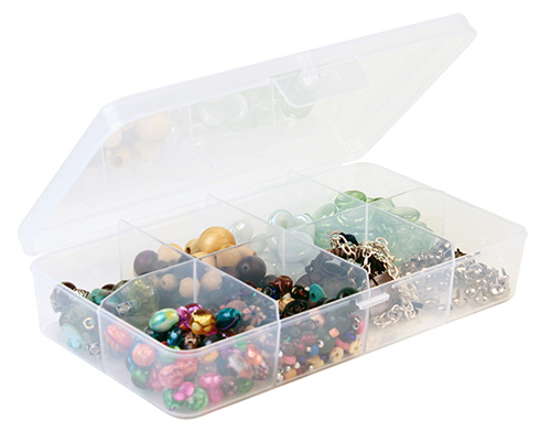 Transparent plastic divider box with 8 storage compartments