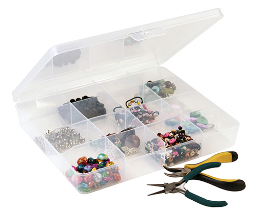 Transparent plastic divider box with 16 storage compartments
