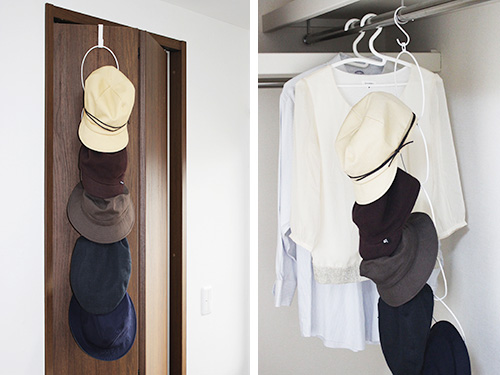 Hanging hat and cap rack - Use over door or inside a wardrobe