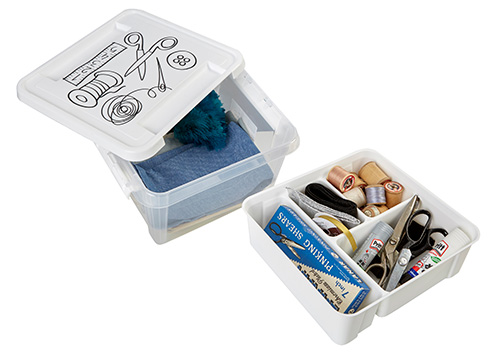 Smartstore plastic sewing storage box with divider tray