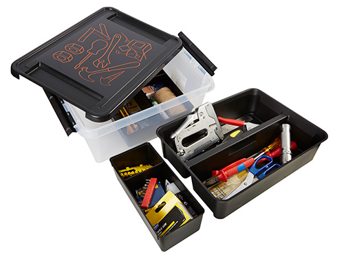 Plastic Smartstore tool storage box with removable dividers