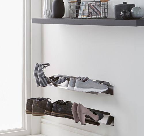 2 x Wall Mounted Shoe Rack - Small