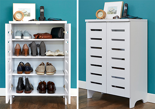 White Slatted Shoe Storage Cabinet
