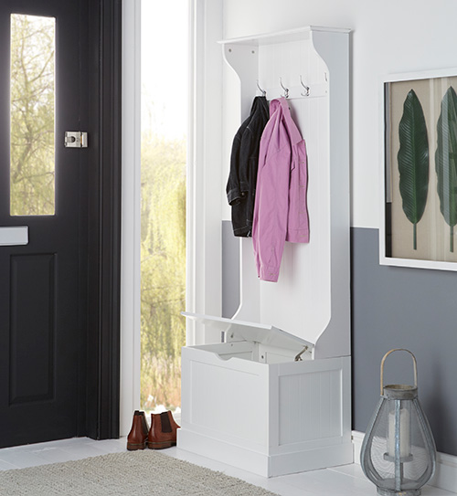 Hallway unit with storage bench and hooks