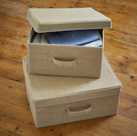 Set of 2 Hessian Storage Boxes