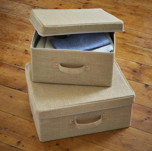 Set of 2 Hessian Storage Boxes