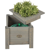 Wooden Planter with Hose Storage