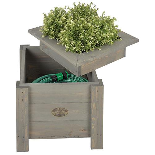 Wooden garden planter with storage