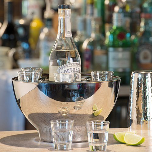 Stainless Steel Spirit Cooler Bowl & Shot Glasses