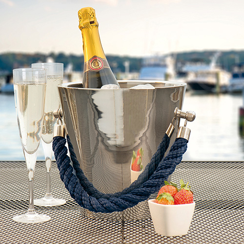 Polished steel champagne cooler