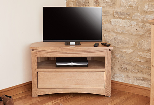 Solid Oak Corner TV Cabinet - Roscoe