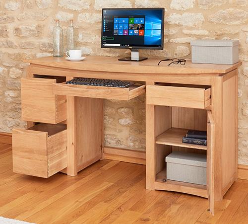 Solid Oak Twin Pedestal Computer Desk - Roscoe
