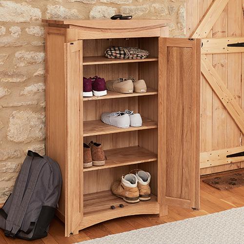 Oak Shoe Storage Cupboard - Roscoe