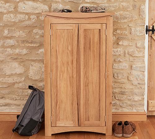 Solid Oak Shoe Storage Cupboard - Roscoe