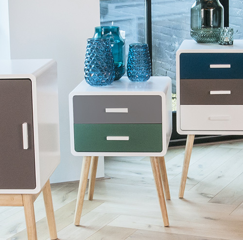 Contemporary wooden 2 drawer side table - Neat