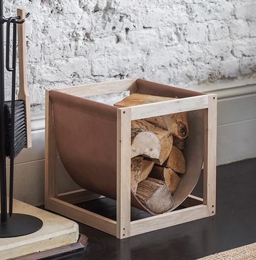 Oak & Leather Log Store - Kelston