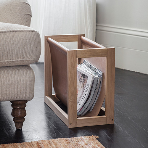 Oak & Leather Magazine Storage Rack - Kelston