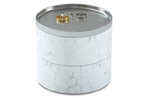 Marbled resin and nickel plated zinc jewellery storage box