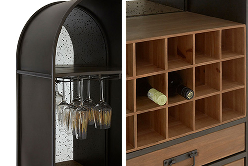 Industrial style home bar cabinet