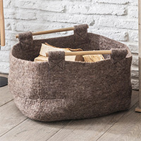 Felt Log Basket with Wooden Handle - Southwold