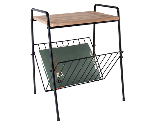 Side Table with Integrated Magazine Rack