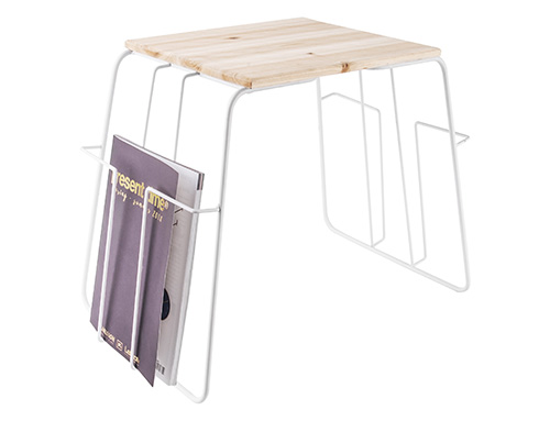 White Wire Magazine Rack Side Table