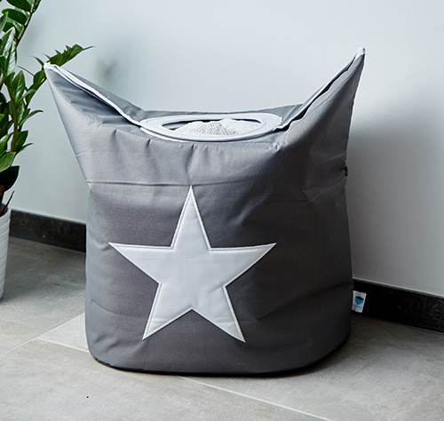 Grey handled laundry bag with star design