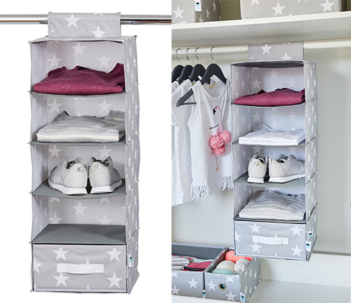 Hanging clothes storage organiser with drawer