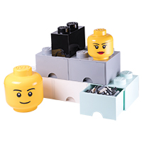 Giant LEGO Storage Drawers - Greys Drawer & Head Bundle