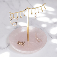 Pink Quartz & Rose Gold Jewellery Stand